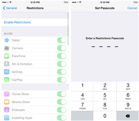 how to change restriction code on iphone